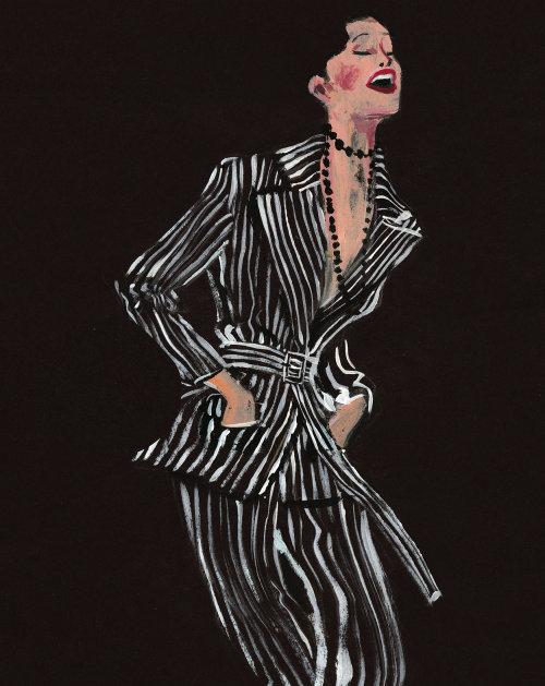 Illustration de mode de rire à Dries Van Noten