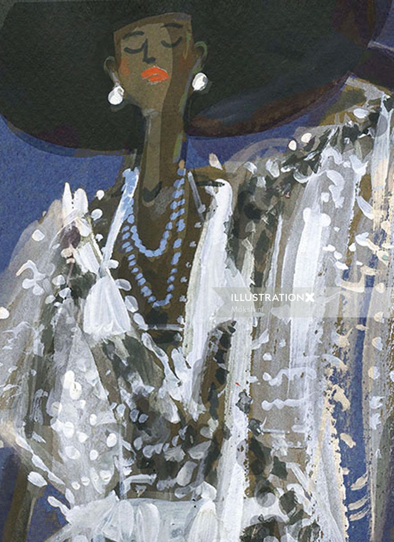 Fashion illustration of Hampton's getup