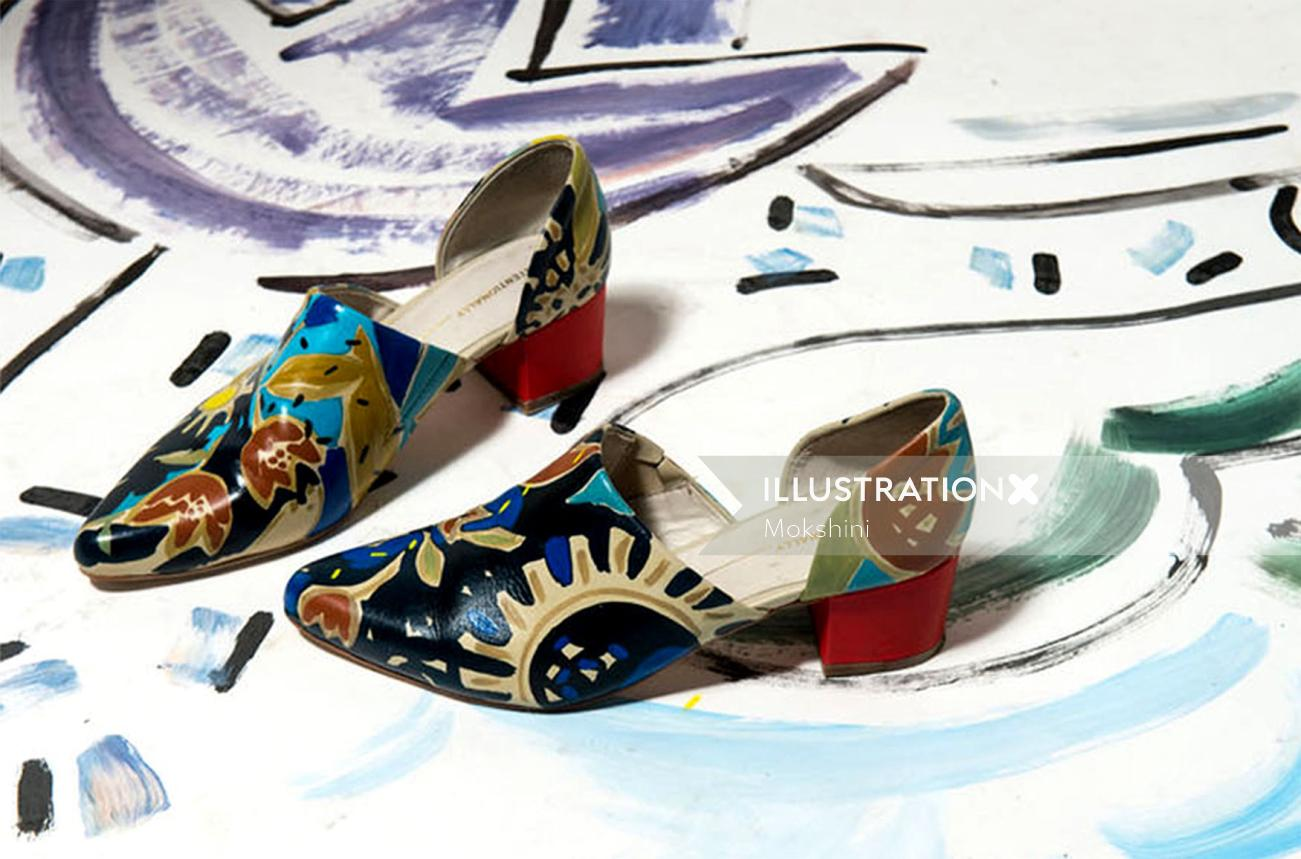 Hand-painted shoes illustration