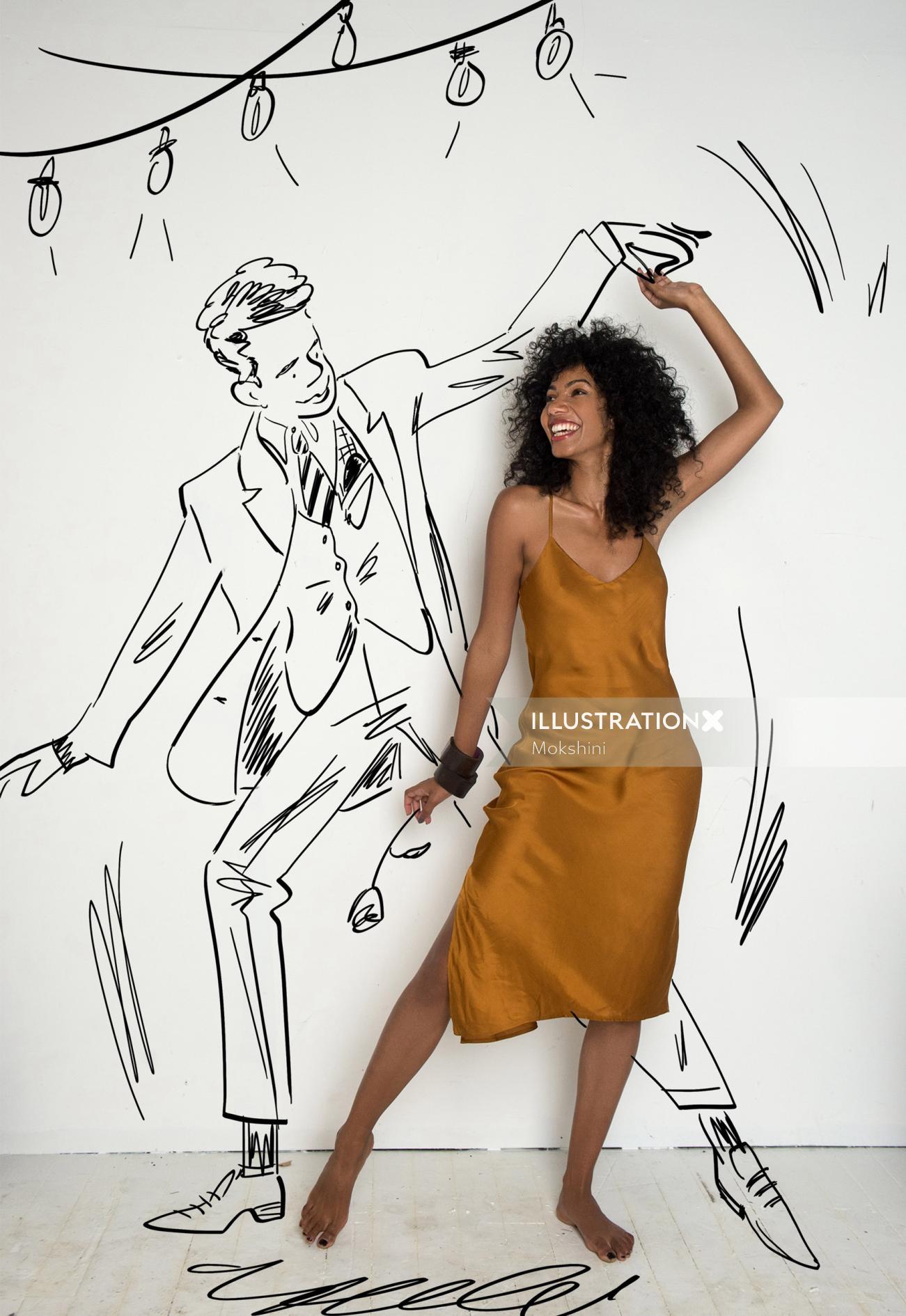 Live drawing of Mr Dreamy by Mokshini
