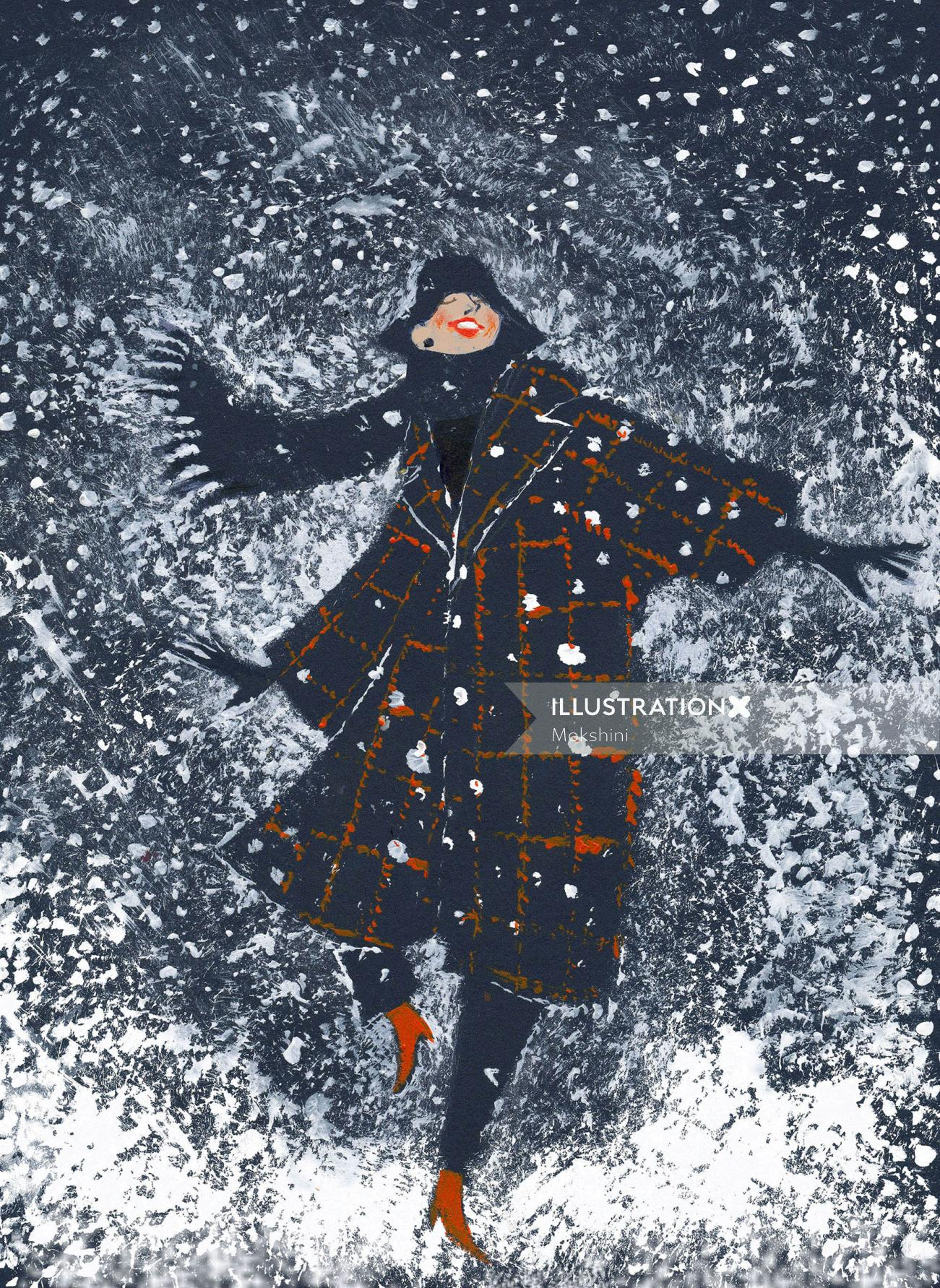Illustration of it's snowing