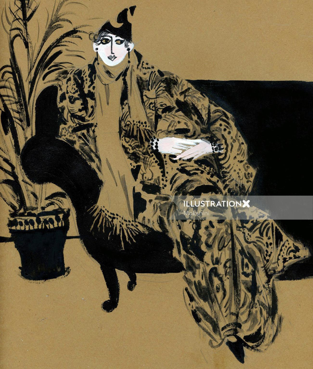 Fashion illustration of Tziporah Salamon