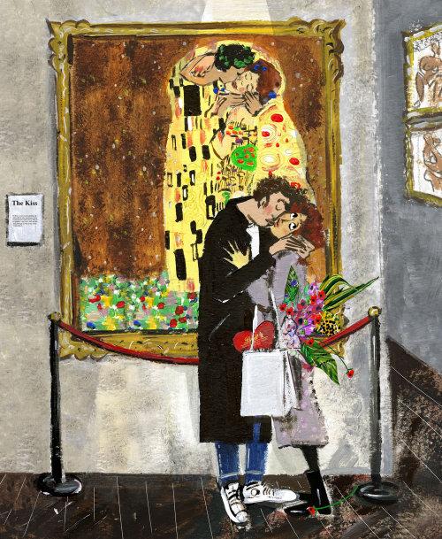 Dessin aquarelle de couple baiser
