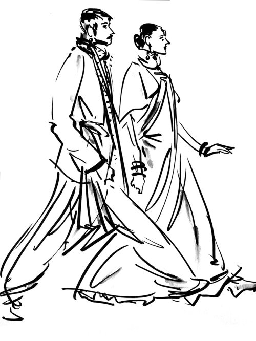 Live drawing illustration of Indian wedding couple