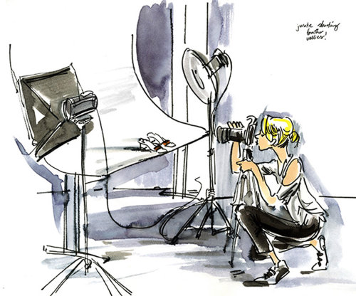 Live drawing illustration of photographer