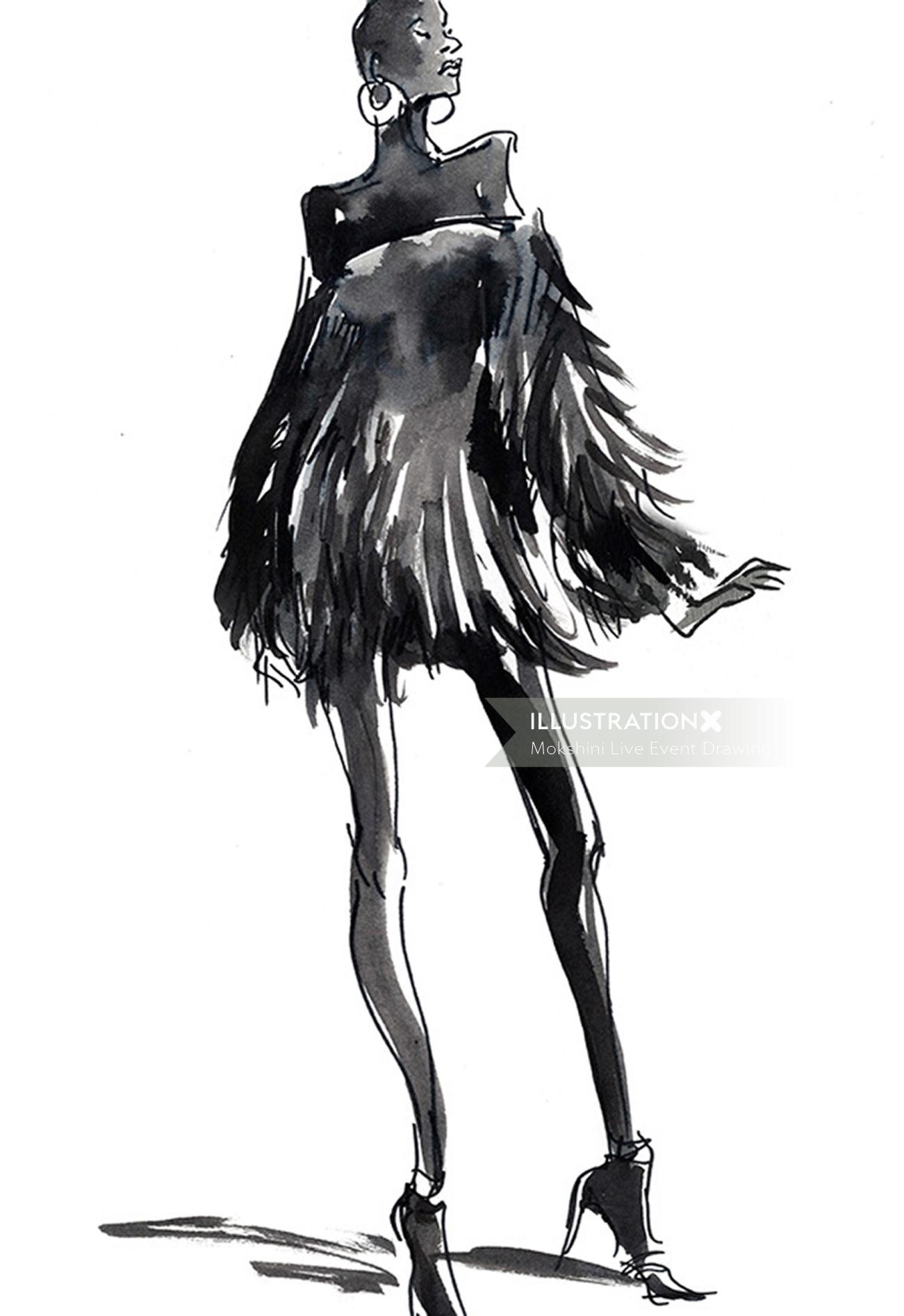 Live drawing of short black gown