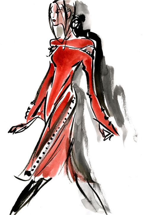 Watercolor painting of long red gown