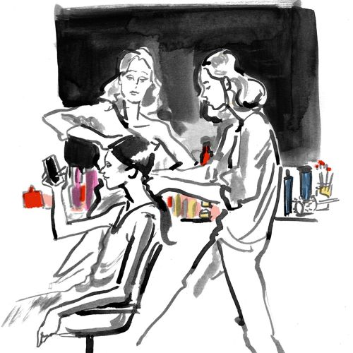 Hair stylist live drawing illustration
