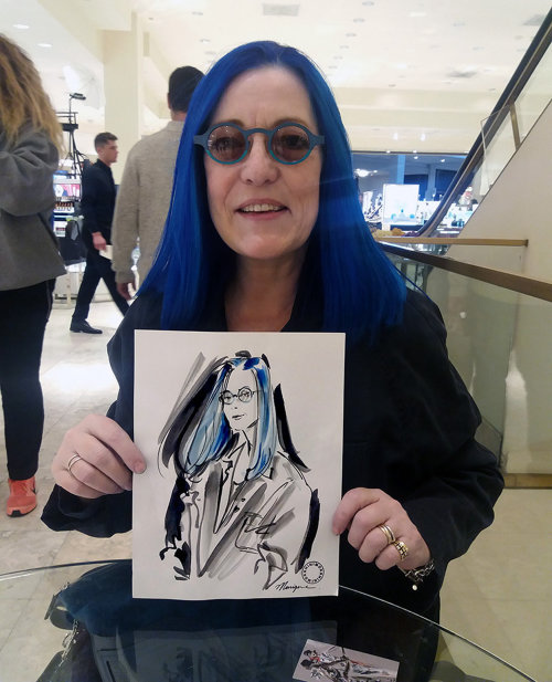 Blue hair girl live drawing illustration