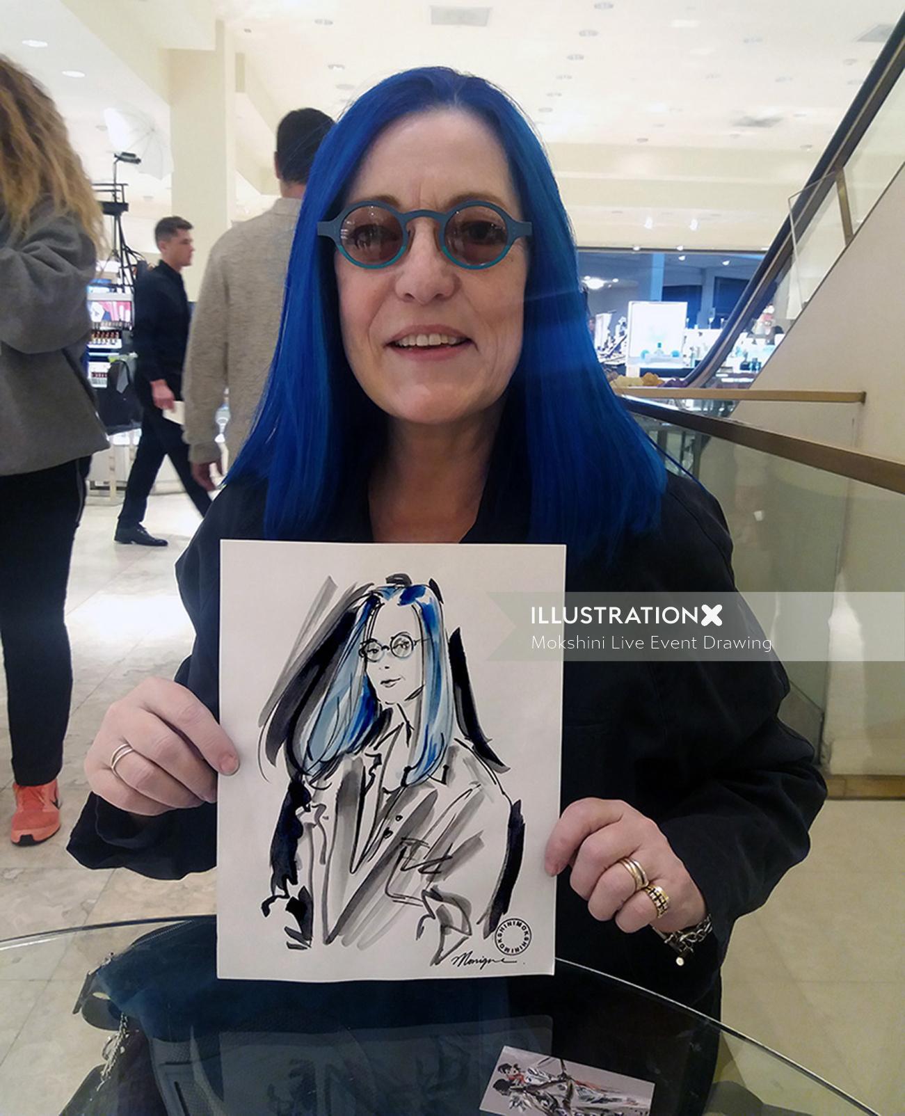 Blue hair girl live drawing illustration