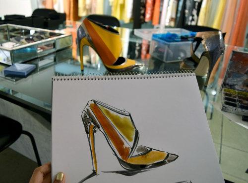 Live drawing illustration of golden sandals