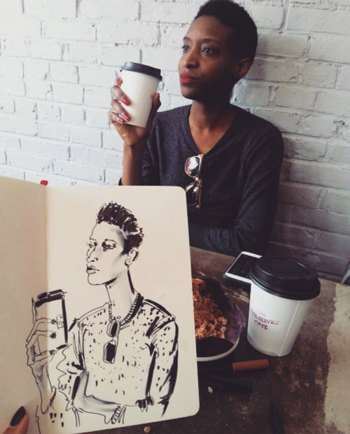 Drinking coffee man live drawing illustration