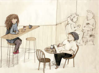 Illustration of characters in the coffee shop