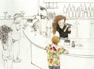 Illustration of people in a bar