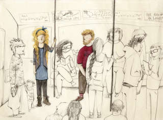 Illustration of people in a bus