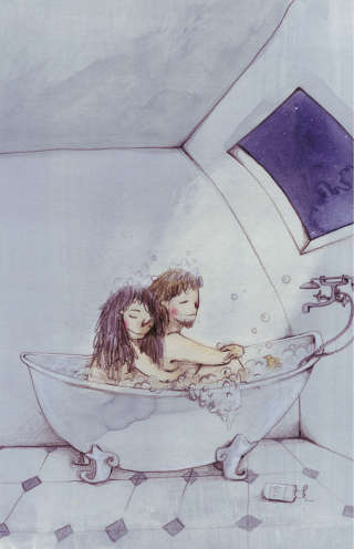 Illustration of couple in the bath tub