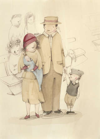 Illustration of father with kids