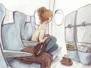 Illustration of teenage girl peeping from the plane