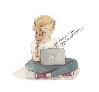 Illustration of girl with a laptop