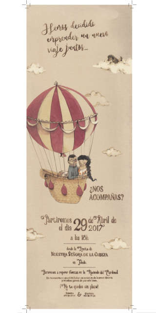 Illustration of girl and boy in a parachute