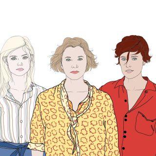 portrait of three fashion models illustration