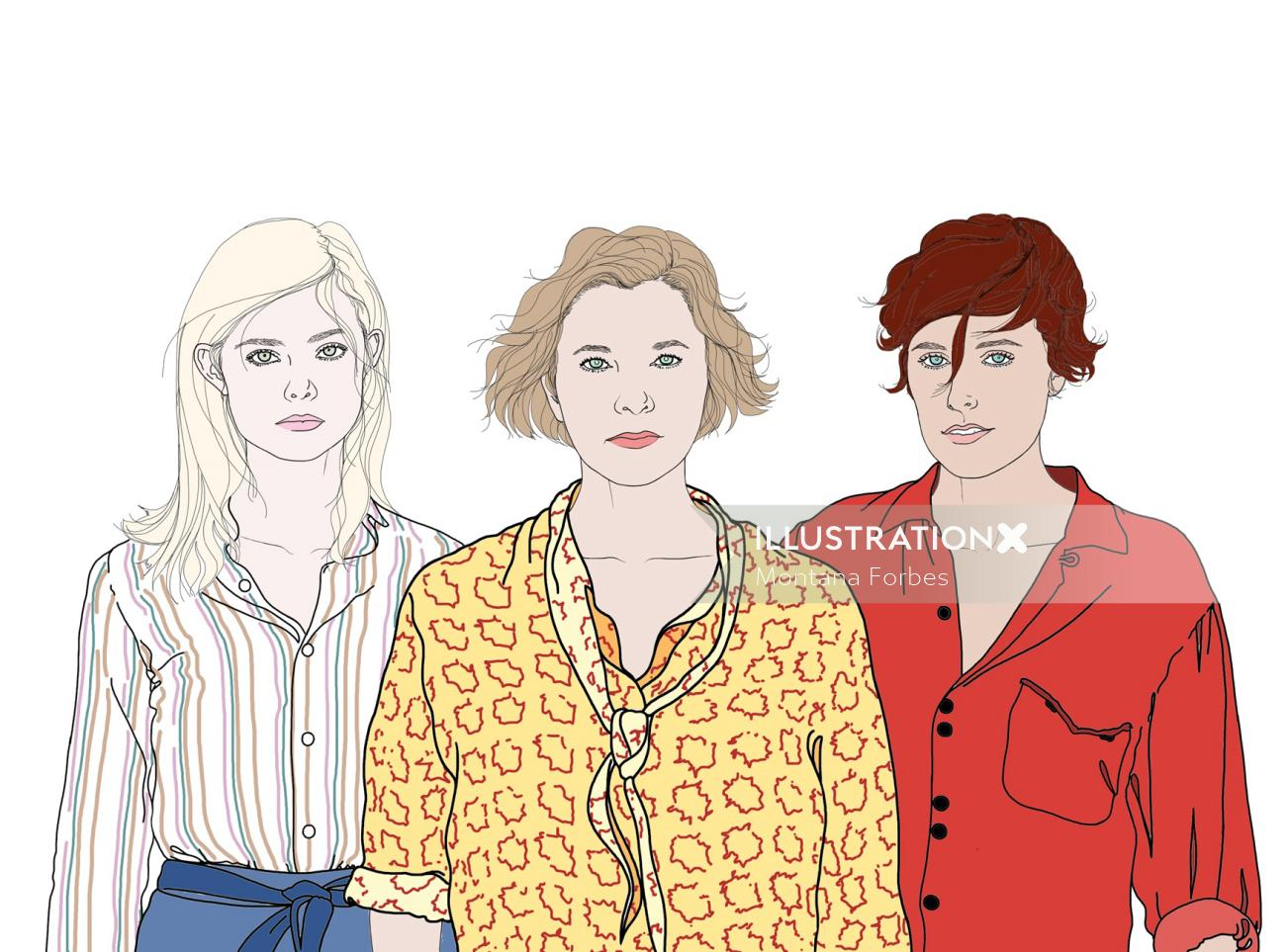 portrait of three fashion models illustration