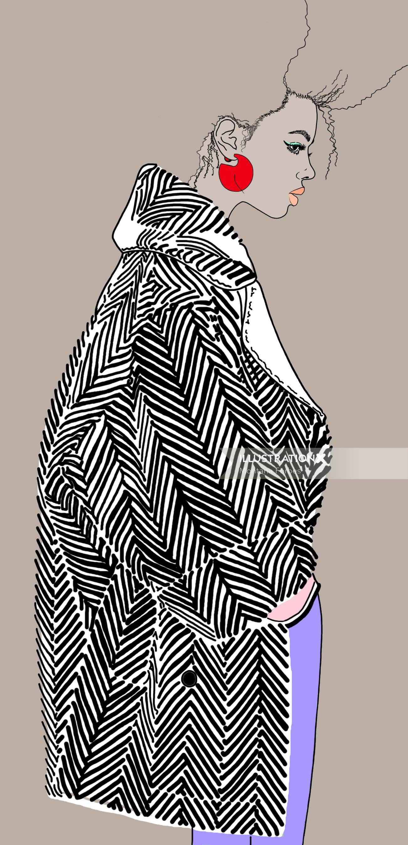 fashion model wearing black striped shirt
