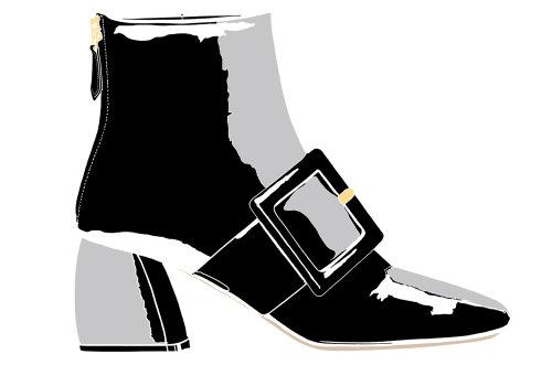 黑色和灰色剪贴画的妇女的靴子