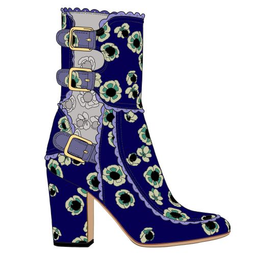 floral marco tozzi long boots illustration