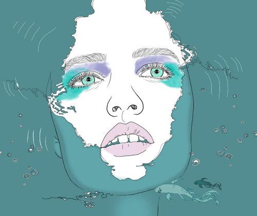 Fashion illustration of woman face
