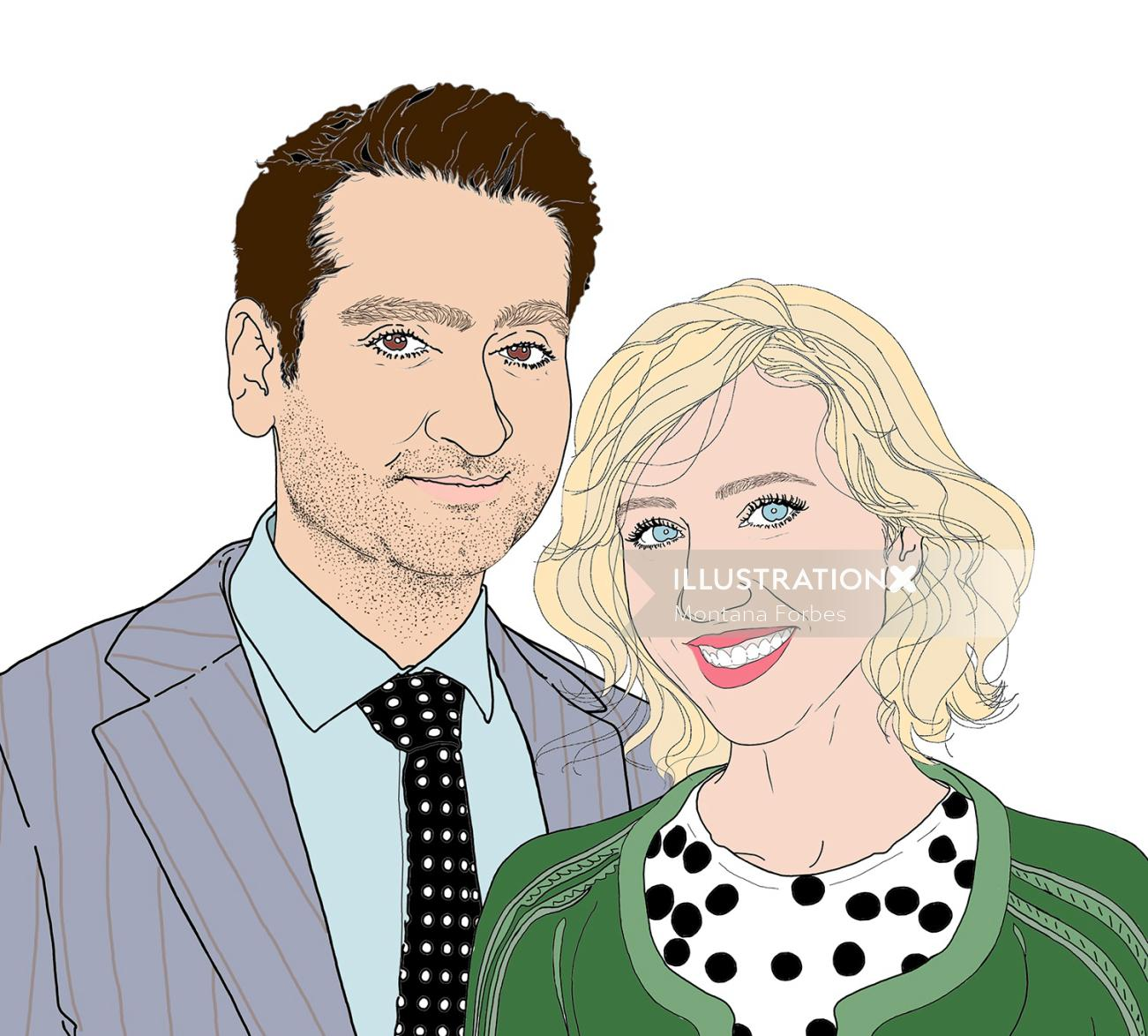 portrait illustration of couple by Montana Forbes