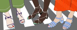 Women wearing summer sandals fashion illustration