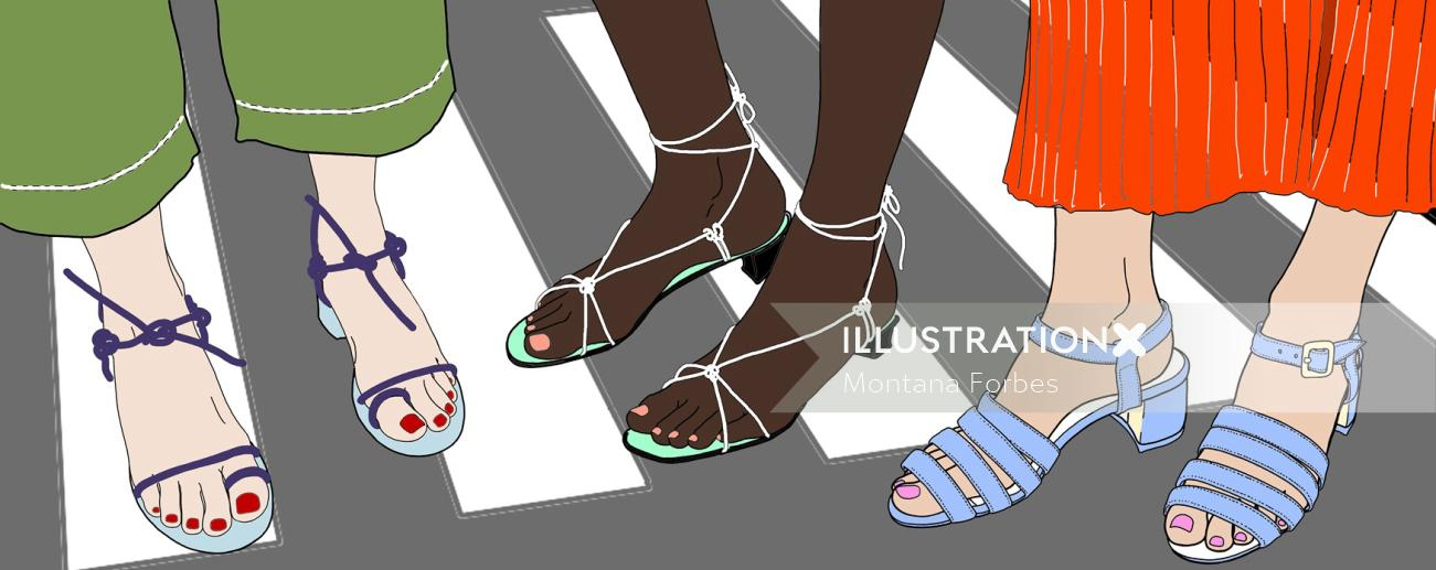 Women wearing summer sandals fashion illustration