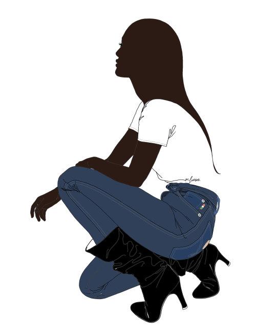 复古Moschino牛仔裤铅笔的女人作图