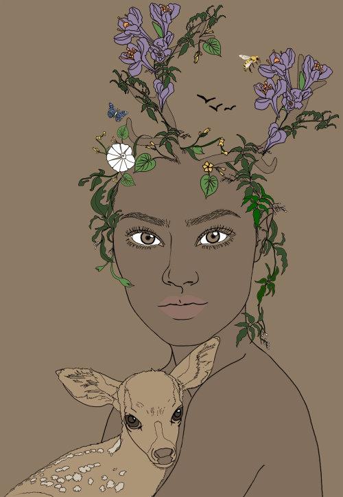 小鹿-女人和小鹿的肖像