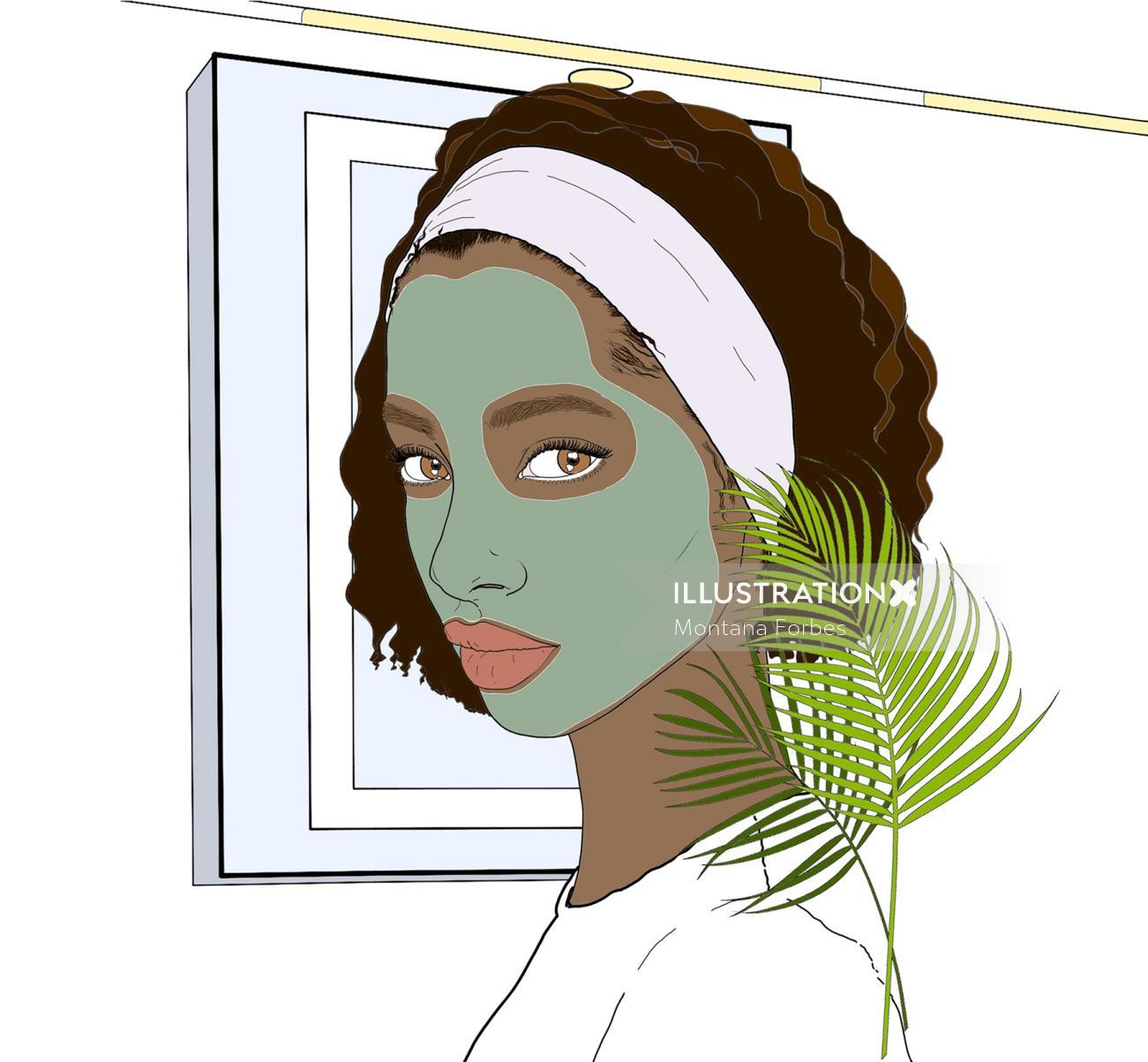 Beauty face mask portrait