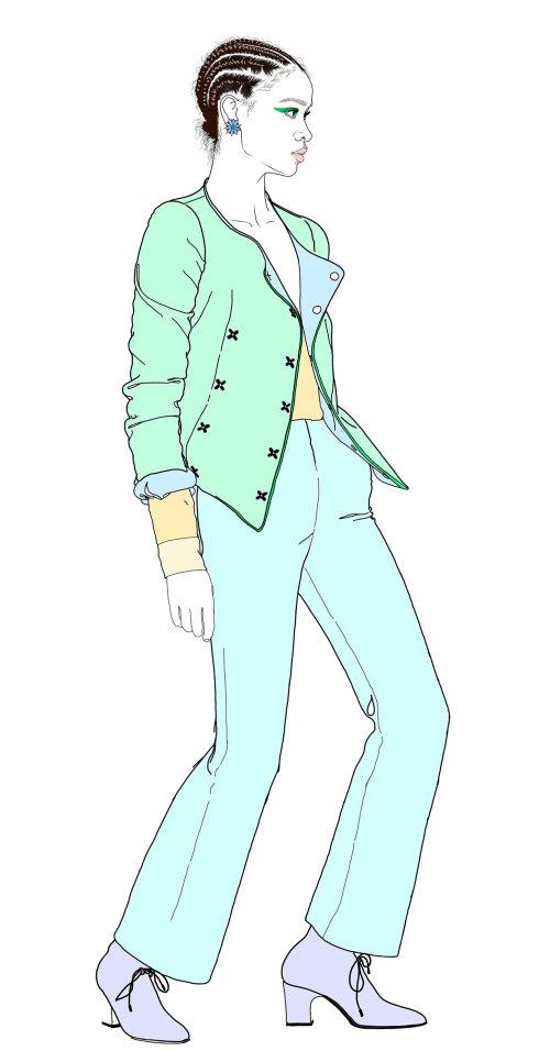 时尚柔和色的西装