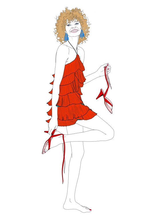 穿红裙子的美丽女人