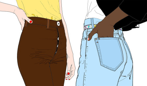Fashion model with hand in pocket
