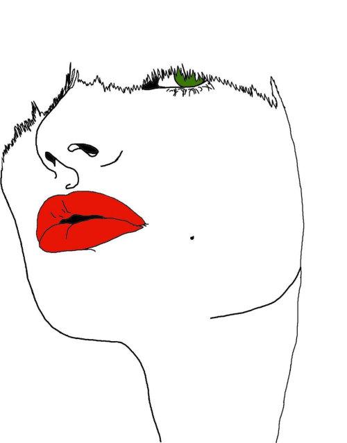 红色的唇膏和绿色的眼睛的女士