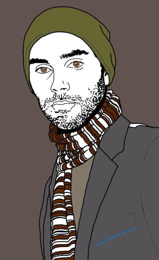 Male model in scarf, jacket illustration by Montana Forbes
