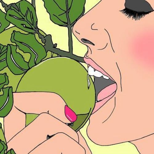 Girl eating an apple illustration by Montana Forbes