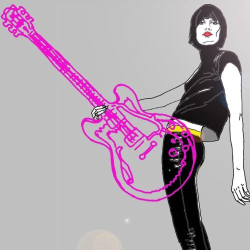 Man with pink guitar illustration by Montana Forbes