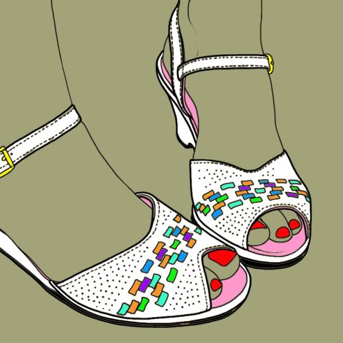 Wedge shoe illustration by Montana Forbes