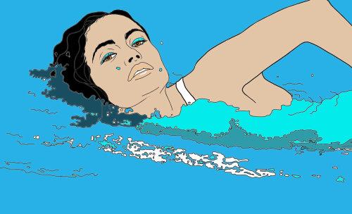 女人游泳插图蒙大拿州福布斯