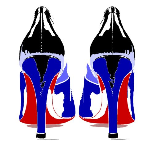 High heeled black blue and red shoes