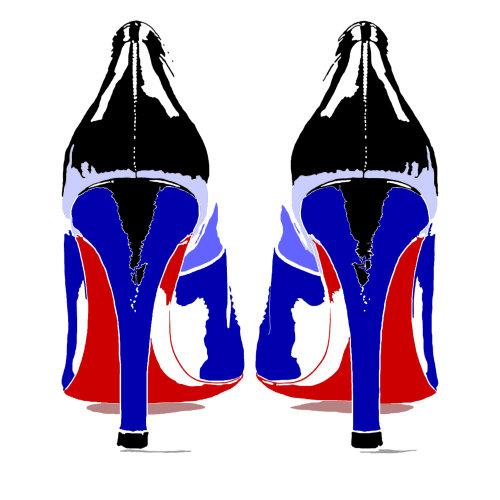 高跟鞋黑色蓝色和红色