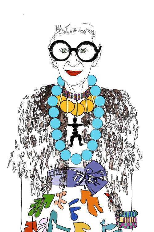 Fashion illustration of an elderly woman