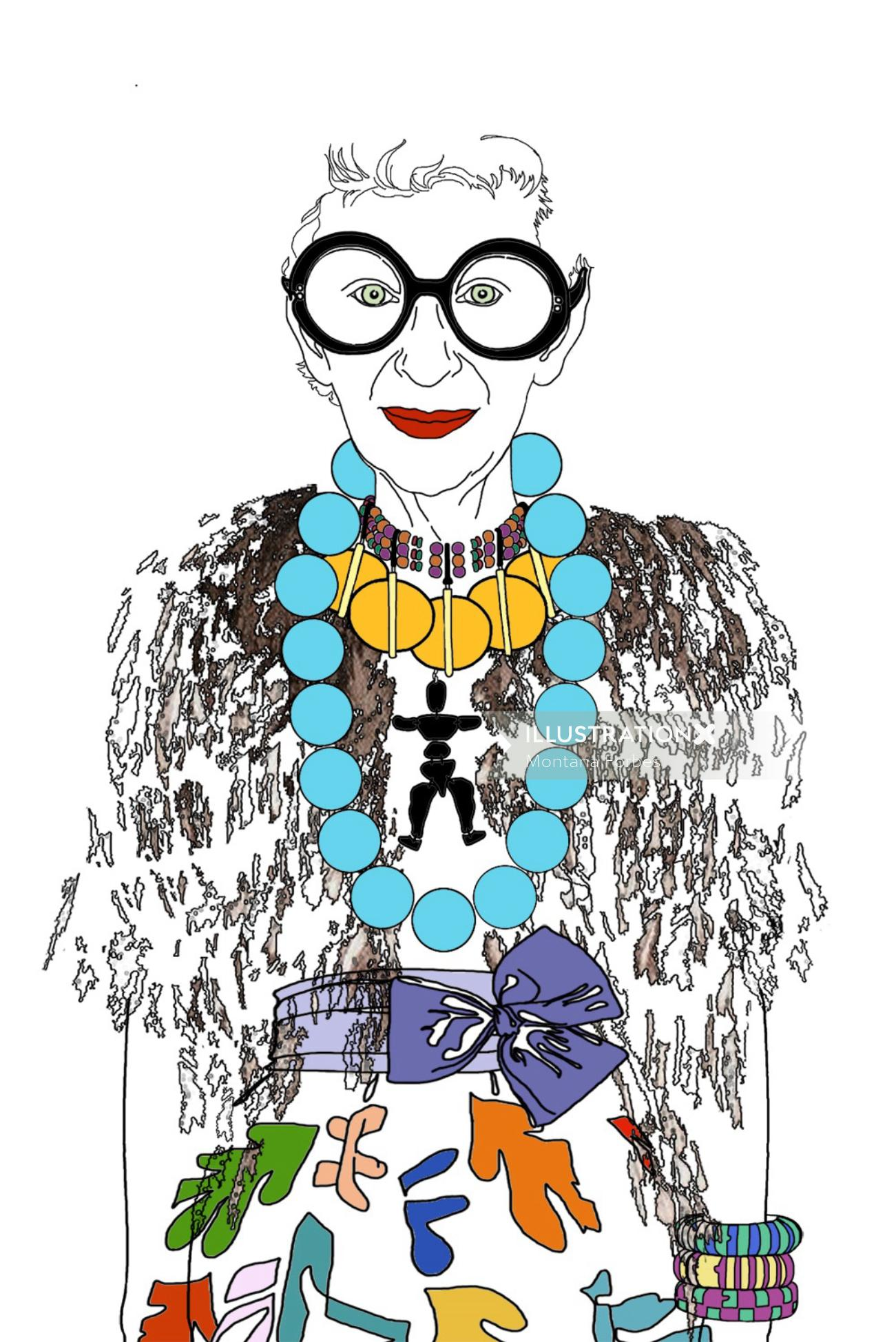 Fashion illustration of an elderly woman