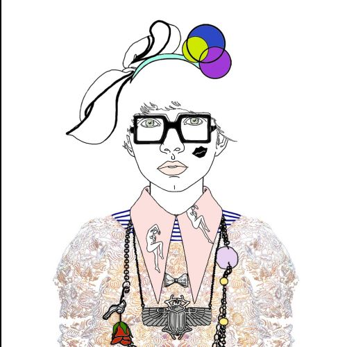Fashion Illustration- lady Wearing Accessories